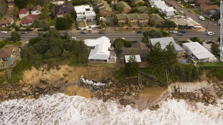 An aerial view of the suburb of Wamberal in Australia's New South Wales on July 17.