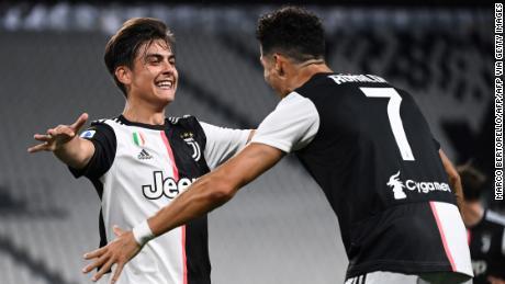 Ronaldo and Dybala celebrate during Juventus' win against Lazio.