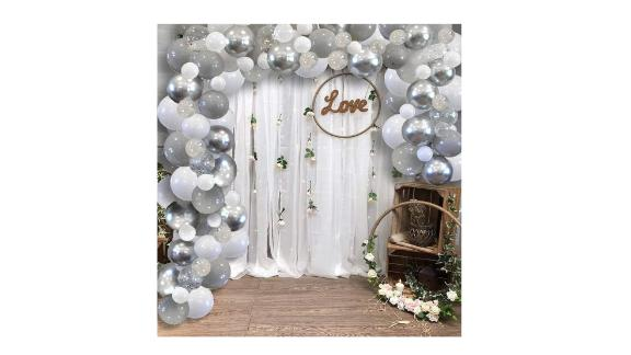 Light Gray Metallic Silver White Balloon Garland Arch Kit