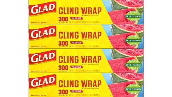 Glad Cling Wrap Plastic Food Wrap, 4-Pack