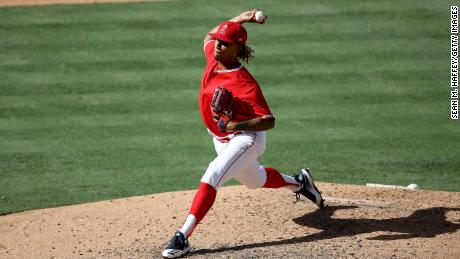 Keynan Middleton pitches during an intrasquad scrimmage on July 8 in Anaheim, California.
