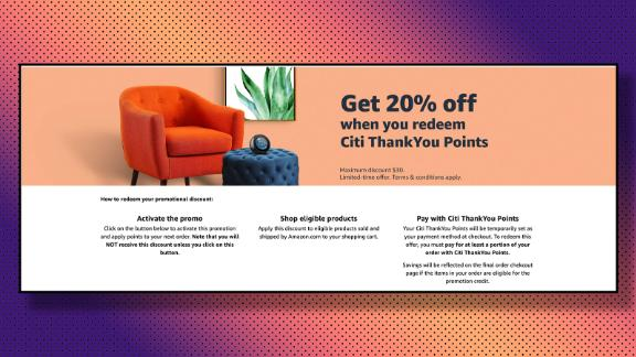 Targeted Citi ThankYou credit card holders can get 20% off at Amazon, up to a $30 discount.