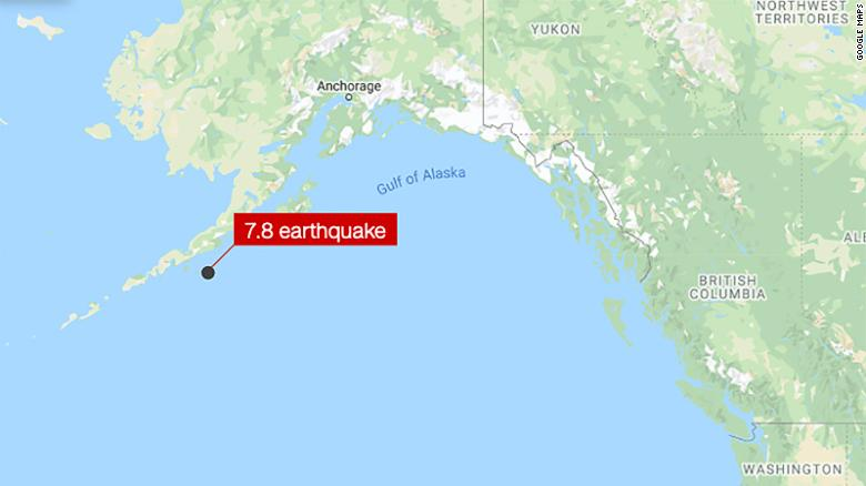 A magnitude 7.8 earthquake struck off the coast of Alaska late Tuesday.