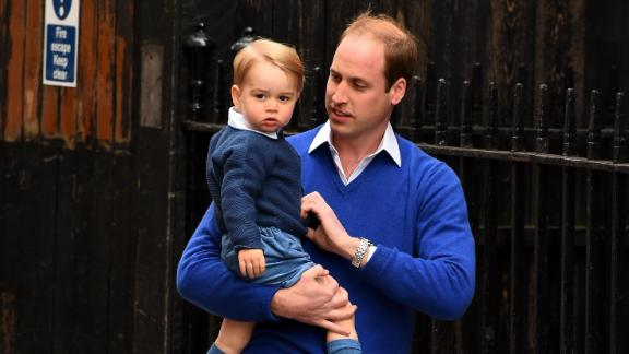 Prince William and Prince George arrive at a London hospital on the day Princess Charlotte was born in May 2015.