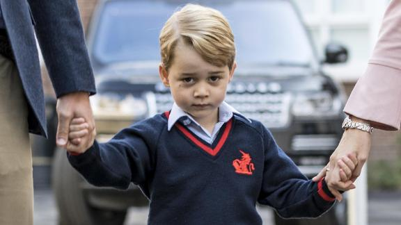 """The prince arrives for his <a href=""""https://edition.cnn.com/2017/09/07/europe/prince-george-first-day-school/index.html"""" target=""""_blank"""">first day of school</a> in September 2017."""