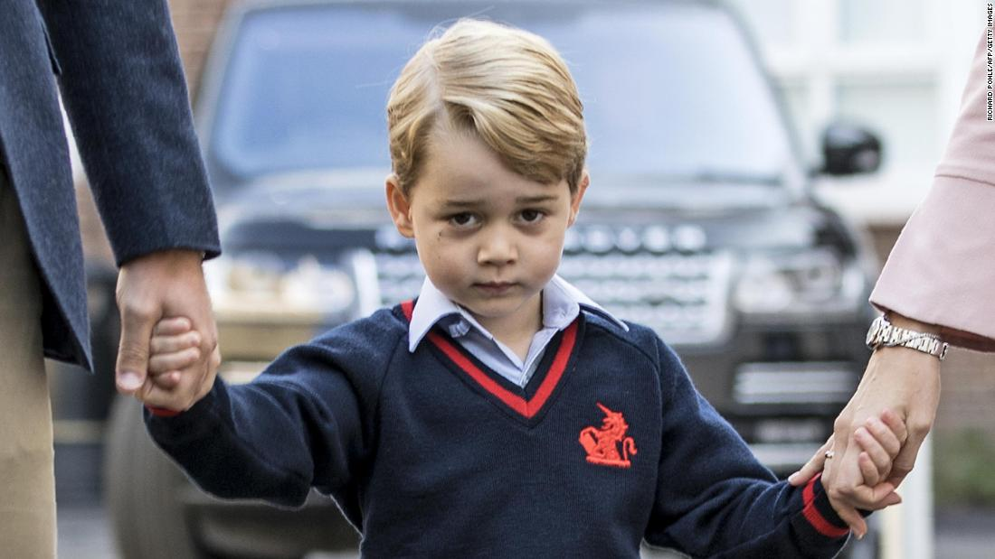 "The prince arrives for his <a href=""https://edition.cnn.com/2017/09/07/europe/prince-george-first-day-school/index.html"" target=""_blank"">first day of school</a> in September 2017."