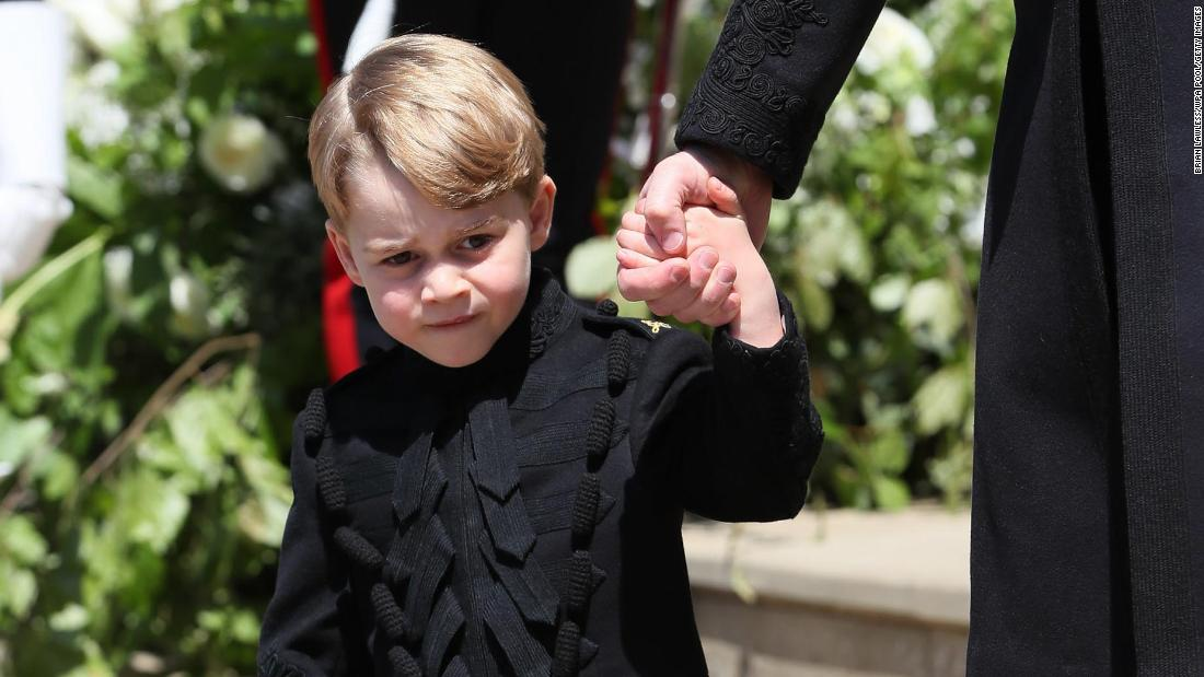 Prince George leaves the chapel after the wedding of his uncle, Prince Harry, in May 2018.