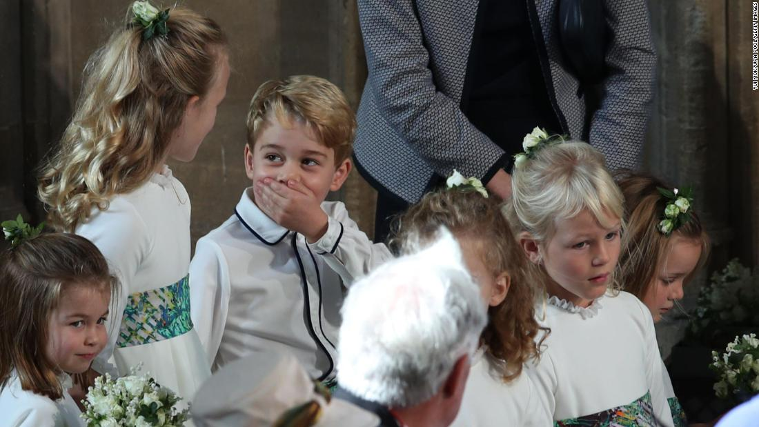 Prince George and other children in the royal family arrive for the wedding of Princess Eugenie in October 2018. George's sister, Charlotte, is at far left.