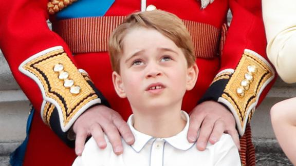 Prince George watches the Trooping the Colour parade from the balcony of Buckingham Palace in June 2019.