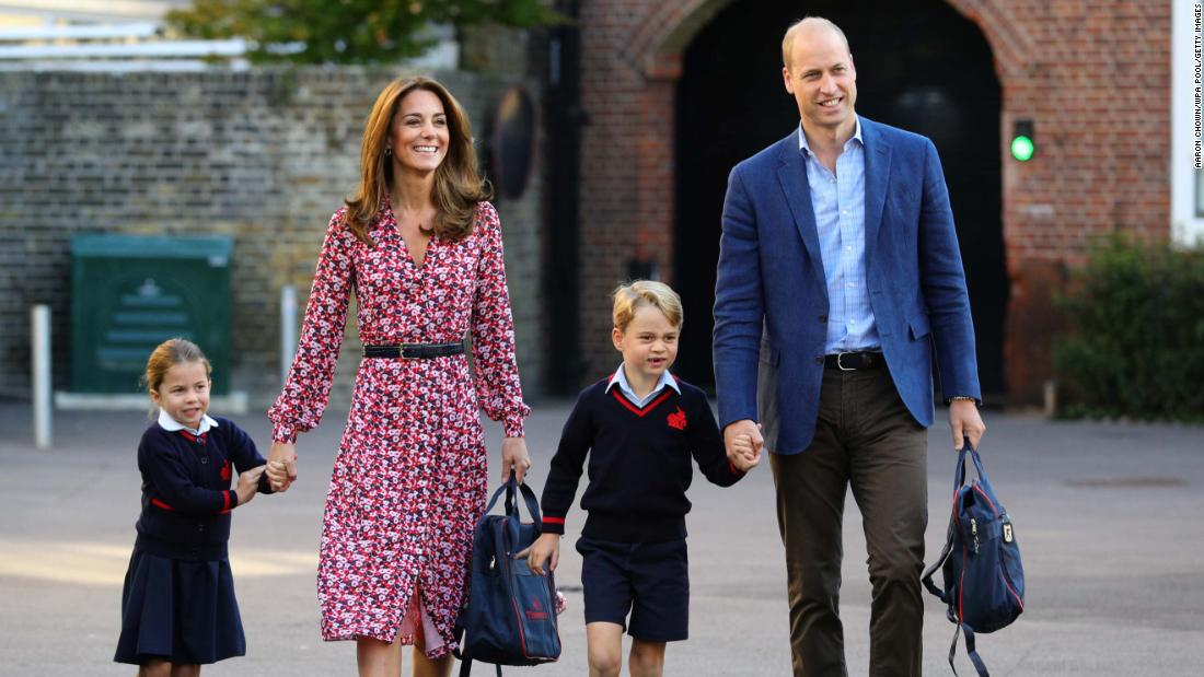 George arrives with his sister, Charlotte, for her first day of school in September 2019.