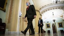 Senate Majority Leader Mitch McConnell, a Republican from Kentucky, wears a protective mask as he arrives to deliver opening floor remarks in the U.S. Capitol on July 22, 2020.