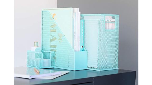 Blu Monaco 5-Piece Cute Office Supplies Aqua Desk Organizer Set