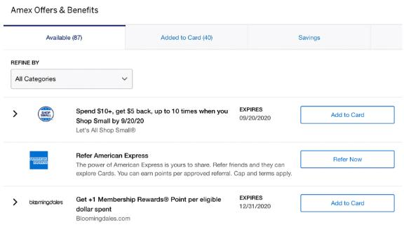 Amex Offers are listed on the American Express website and in the Amex app.