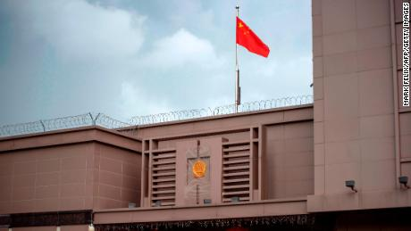 The Chinese flag flies at the Chinese consulate in Houston on July 22, 2020.