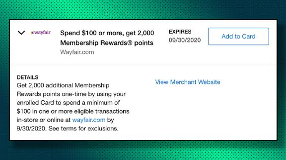 One version of an Amex Offer at Wayfair that earns bonus points.