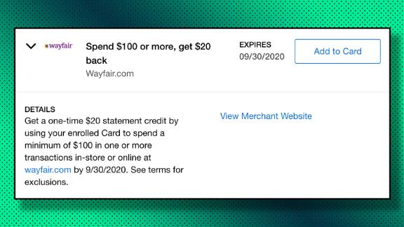 A different Amex Offer at Wayfair with a statement credit.
