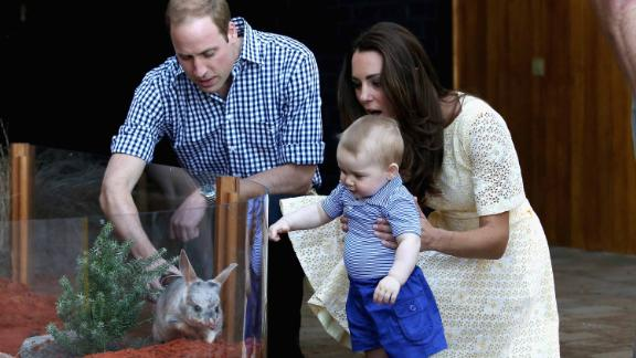 Catherine holds George as he meets a bilby — Australia's version of the Easter bunny — at Taronga Zoo in Sydney. One of the zoo's bilbies was renamed George in honor of the young prince.