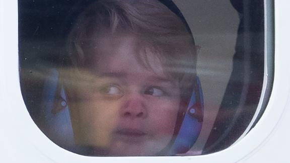 Prince George looks out of the window of a seaplane while leaving Victoria, British Columbia, in October 2016.
