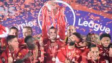 Liverpool lifted the Premier League title in an empty stadium due to the coronavirus pandemic.