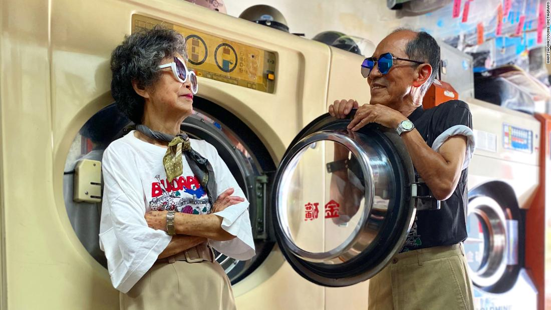 Chang Sho-Er, 84 and Chang Wan Ji, 83 pose for photos at their laundromat in Taichung. Scroll through to see more images of the pair.wantshowasyoung (Instagram)