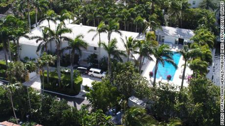 An aerial view of the six-bedroom home of Jeffrey Epstein in Palm Beach, Florida. It is for sale for $21.9 million.