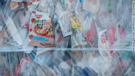 Compressed plastic waste at Ichikawa Kankyo Engineering, a recycling center in Japan.