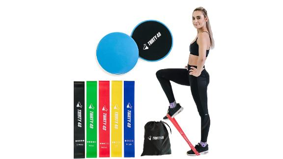 Thirty48 Gliding Discs Core Sliders and 5 Exercise Resistance Bands