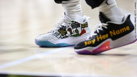 The sneakers of Breanna Stewart #30 of Seattle Storm during the game against the New York Liberty.