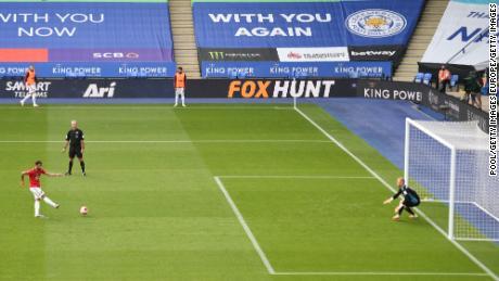 Bruno Fernandes a marcat câștigătorul pentru Manchester United la Leicester în Premier League.