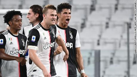 Ronaldo celebrates after scoring against Sampdoria.