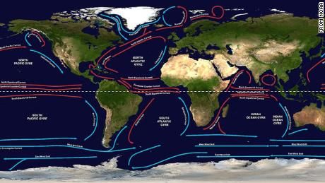 There are five major gyres, which are large systems of rotating ocean currents. The ocean churns up various types of currents. Together, these larger and more permanent currents make up the systems of currents known as gyres.