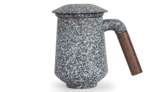 CoBak Tea Infuser Mug With Lid in English White