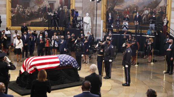The casket of former Rep. John Lewis (D-GA) arrives for a memorial service in the Capitol Rotunda on July 27, 2020 in Washington, DC. Lewis, a civil rights icon and fierce advocate of voting rights for African Americans, will lie in state at the Capitol. Lewis died on July 17 at the age of 80. (Photo by Shawn Thew-Pool/Getty Images)