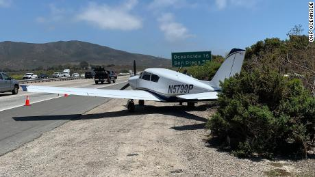 The pilot was able to move the plane onto the gravel shoulder of Interstate 5.