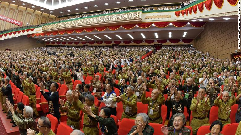 The 6th National Conference of War Veterans is seen in this photograph released by KCNA.