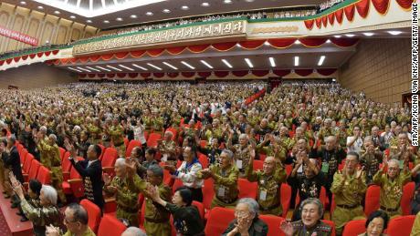 La 6e Conférence nationale des anciens combattants est visible sur cette photographie publiée par KCNA.