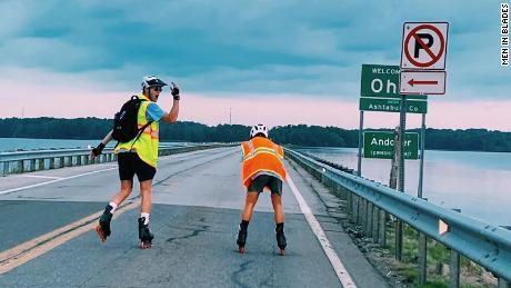 Jacob Adkins and Andrew Walker roller bladed nearly 900 miles to raise money for cancer research.