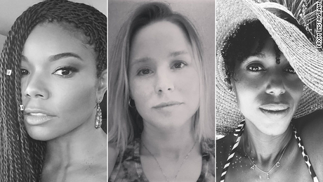 "Celebrities and Instagram users are posting black-and-white images in support of women's empowerment with the caption ""Challenge accepted."""