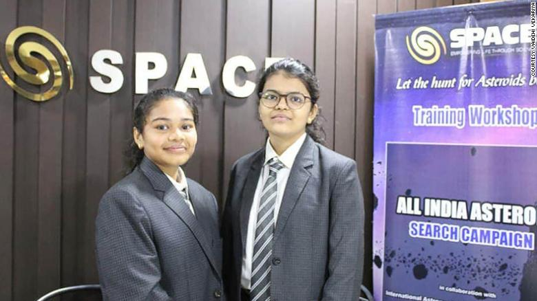 Radhika Lakhani stands on the left with her project partner Vaidehi Vekariya.