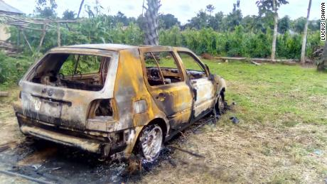 A burnt vehicle belonging to one of the victims of the July 24 attack on the Zikpak community in northern Nigeria.