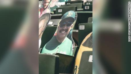 A's fan Sal Valencia's smiling face will be in the stands at Oakland Coliseum all season.