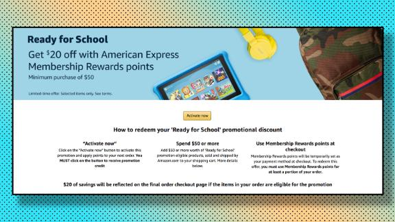 Use at least 1 American Express point to get $20 off your Amazon back-to-school purchases.