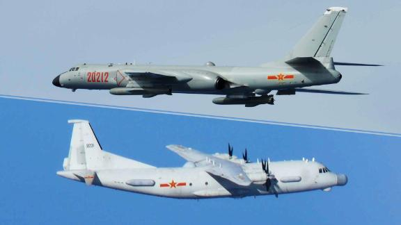 A Chinese H-6 bomber and Y-9 transport as photographed by Japanese fighters on intercept missions