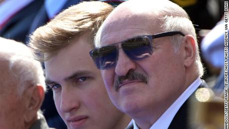 President of Belarus Alexander Lukashenko with his son Nikolai in Moscow.