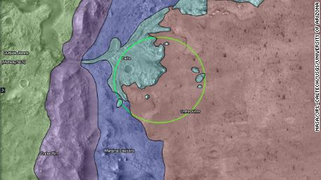 This map shows regions in and around Jezero Crater on Mars where the rover can explore.