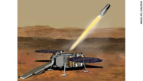 This illustration shows a concept of how the NASA Mars Ascent Vehicle, carrying samples, could be launched from the surface of Mars.