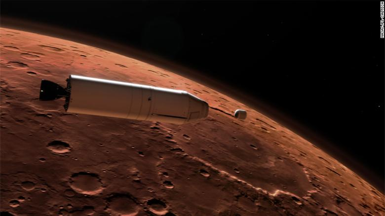 This illustration shows a concept for a Mars Ascent Vehicle (left) releasing a sample container (right) high above the Martian surface.