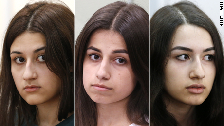 From left to right, Krestina, Angelina and Maria Khachaturyan, in court on June 26, 2019 in Moscow.