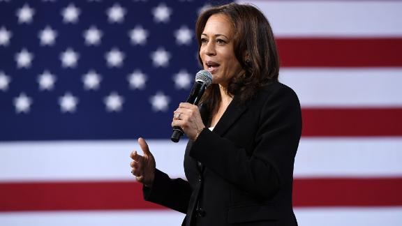 Kamala Harris speaks during an economic forum in Las Vegas in April 2019. The US senator from California is now the vice president-elect.
