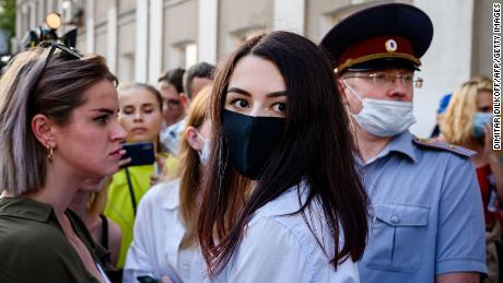 Maria Khachaturyan walks out of a court building after a pre-trial hearing in Moscow on July 28, 2020.